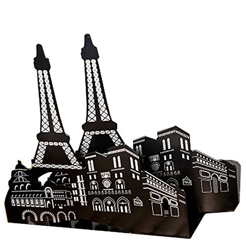 One pair vintage Fashion stile europeo architettura decorativa Reggilibri fermalibri Thickening Iron Library School Office Home Study metal Bookends Book End Gift Paris Eiffel Tower