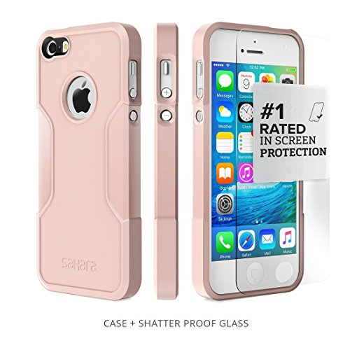 Coque iPhone 5 SE 5s, (Rose Gold) SaharaCase® + [film protecteur ZeroDamage en verre trempé] kit de protection accompagné d'un et d'une protection de saisie antidérapante [antichocs] ave