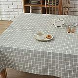GWELL Leinen Tischdecke Eckig Abwaschbar Tischtuch Pflegeleicht Schmutzabweisend 10 Größe wählbar graue Karos 100 * 140cm - 6