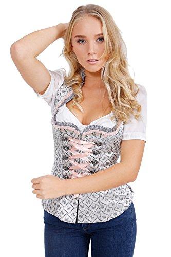 Michaelax-Fashion-Trade Krüger - Damen Trachten Mieder mit schönem Muster, Rose Daisy (Artikelnummer: 35545-43), Größe:36, Farbe:Hellgrau