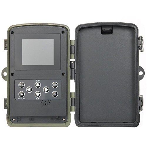 Globalqi 12MP 1080P Wildlife Jagd Kamera Foto Traps mit 120 Weitwinkel Trail Überwachungskamera Nachtsicht Versteckte Kamera HC-800A