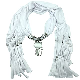 ANDAY Long Fabric Faux Agate Cat Pendant Shawl Scarf Necklace White
