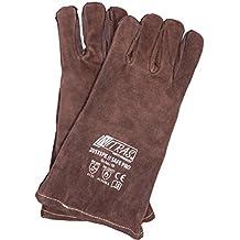 Grillhandschuhe hitzebeständig aus Leder, Backhandschuhe Ofenhandschuhe, 1 Paar feuerfest für Raucher, Backofen & Outdoor Grill - Braun