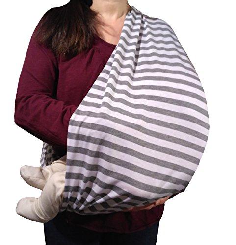 Stilltuch / Stillschal für diskretes Stillen Ihres Babys unterwegs: Unser 2 in 1 MyTinyPearl Nursing Cover ist grau-weiß gestreift lässig & elastisch, ein Stillcape für große als auch kleine Mütter und Babys (Grau-Weiß 2017)