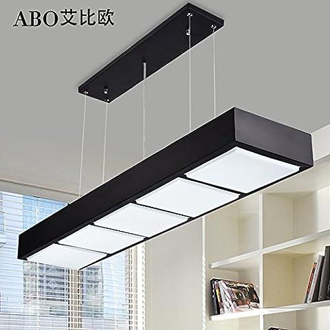 Il Nordic lampadari di stile moderno minimalista lounge cena leggera barra luminosa a LED nero 5 lampadari rettangolare e bianco , -48W-LED ,5 testa nera -48W LED a luce bianca