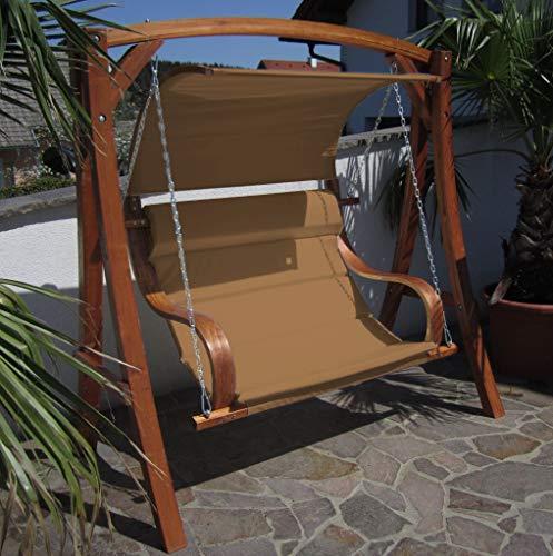 AS-S Design Hollywoodschaukel Gartenschaukel MERU BRAUN aus Holz Lärche inkl. Abdeckung