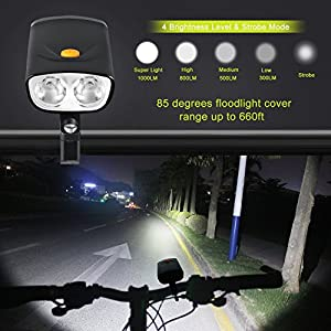 Juego de luces para bicicleta, 1000 lúmenes, Cree L2, doble LED, con salida USB, 5000 mAh, batería recargable USB, IPX6, impermeable, USB para bicicleta, luz trasera incluida para todas las bicicletas