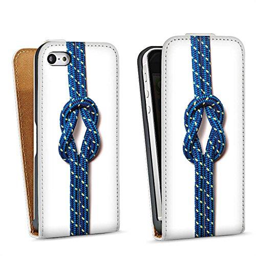 Apple iPhone 5s Housse Étui Protection Coque N½ud marin Corde Faire du bateau à voile Sac Downflip blanc