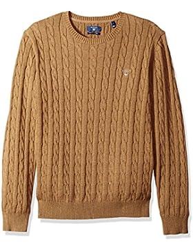 Gant Hombre Logo tejido en cable, Marrón