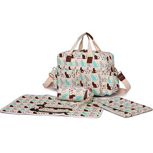Miss Lulu 4PCS Baby Windel Windel Wickeltasche Set große Tragetasche Handtasche Schmetterling Blume Polka Dots Elefant Hund Katze Vogel Print Cat Beige