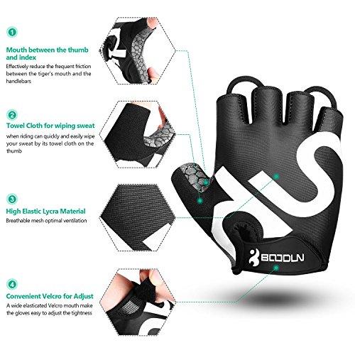 Fahrrad Handschuhe Fingerlos Schwarz Fitness SBR Gepolsterte Unisex Sport Gloves für Krafttraining Gewichtheben XXL by KONVINIT - 5
