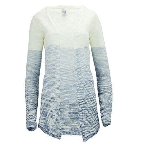 Fresh Made - Gilet - Uni - Manches Longues - Femme blanc/bleu