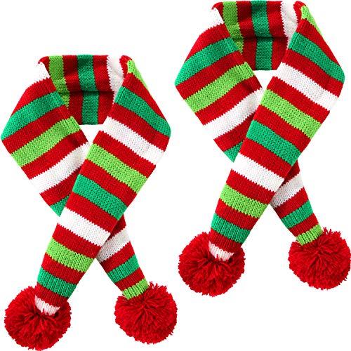 Blulu 2 Stück Weihnachten Haustier Stricken Schal Hund Winter Gestreiften Schals Weihnachten Haustier Kostüm Zubehör (XS ()