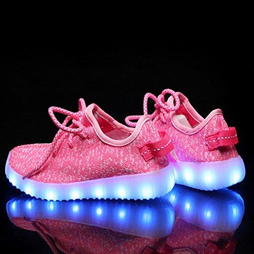 iBaste LED Sportschuhe für Herren Damen USB Aufladen 7 Lichtfarbe 11 Beleuchtenmodi Sport Schuhe Kinder Jungen Mädchen Laufschuhe Leuchtend Sneaker Turnschuhe Unisex Kinder-Pink
