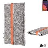 flat.design Handy Hülle Coimbra für Wiko View 32 GB - Schutz Case Tasche Filz Made in Germany hellgrau orange