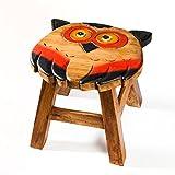 Robuster Kinderhocker/Kinderstuhl massiv aus Holz mit Tiermotiv Eule. 25 cm Sitzhöhe