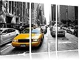 Gelbes Taxi in New York schwarz/weiß 3-Teiler Leinwandbild 120x80 Bild auf Leinwand, XXL riesige Bilder fertig gerahmt mit Keilrahmen, Kunstdruck auf Wandbild mit Rahmen, günstiger als Gemälde oder Ölbild, kein Poster oder Plakat