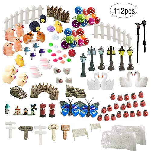 ZJW 112 Pieces Miniature Fairy Garden Zubehör Ornaments Kit für Fairy Garden Dekor