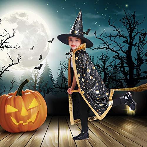 Idefair Halloween Kostüme Hexen Zauberer Mantel mit Hut Kinder Zauberer Umhang Kinderkostüm Party Cosplay Umhang Rollenspiel Anzieh für Kinder Jungen Mädchen - Mädchen Vampir Kostüm Muster