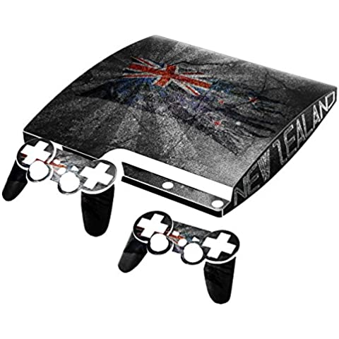 Bandera rasgada Collection 1, personalizado consola PS3 Fat Slim Full Body Wrap Faceplates Decal Vinyl piel adhesivo pegatina skin protector Drapeau Déchiré Nouvelle Zélande PS3 Slim