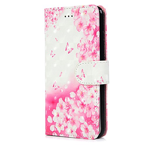 Badalink Hülle für iPhone 7 Plus / iPhone 8 Plus Liebesblumen Handyhülle Leder PU Case 3D Cover Magnet Flip Case Schutzhülle Kartensteckplätzen und Ständer Handytasche mit Eingabestifte und Staubschut Rosa Schmetterling Blume