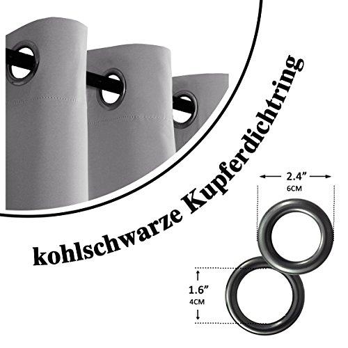 H.Versailtex Thermo-Verdunklungsvorhänge Blickdicht Gardinen mit Ösen für Schlafzimmer Grau Vorhänge, Wärmeschutz & Geräuschreduzierung, 175 CM x 140 CM ( H X B ),2er-Set - 3