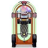 AUNA Graceland XXL - Jukebox, Retro Musikbox, MP3-fähiger CD-Player, USB-Port, SD-Karten Slot, 3,5 mm-Klinke AUX-Eingang, UKW Radio, 2-Band Equalizer, LED-Beleuchtung, Lichtwechsel, türkis