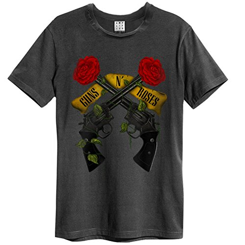 Amplified Herren Oberteile/T-Shirt Guns N Roses Shooting Roses Grau XL