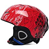QJIAXING Skihelm Kinder Jungen Und Mädchen Furnier Ski Sport Outdoor Ausrüstung Kopf Helm,Red,M