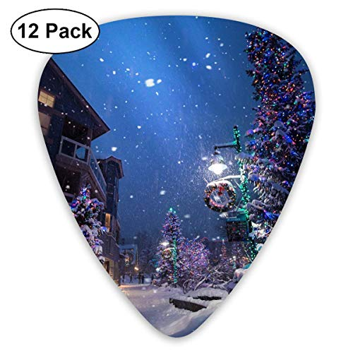 Clear Christmas Tree Snow Covered Street Lamp Wreath Street Light Guitar Picks - 12 pack -