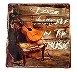 LB H&F Blechschild Blech Schild Metallschild Nostalgie Retro Musik Gitarre 30x30 cm Gross geprägt