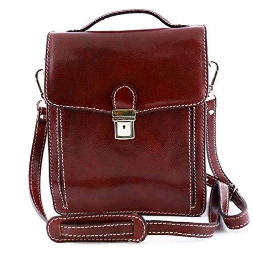 Borsello Uomo In Vera Pelle Colore Rosso - Pelletteria Toscana Made In Italy - Borsa Uomo