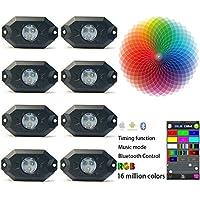 Kail 9W 8dosettes Multicolore Neon LED kit d'éclairage LED RVB lumières de roche avec contrôleur Bluetooth synchronisation Fonction Mode Musique