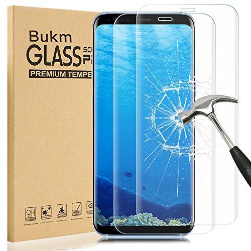 [2 Pièces] Samsung Galaxy S8 Protecteur d'écran, Bukm Galaxy S8 Protecteur d'écran en verre trempé de [9H Dureté] [Anti-empreinte digitale] [Sans bulle] Couvercle d'écran transparent pour Samsung Galaxy S8