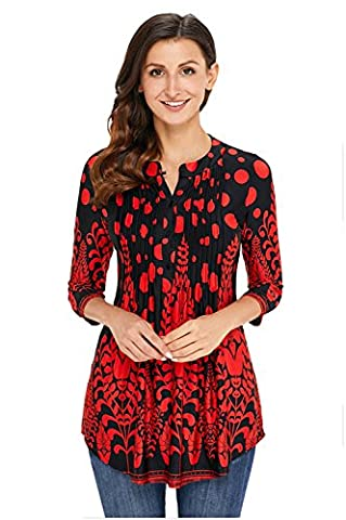 Winfon Tunique Femme Chic a Fleur Fluide Manche 3/4 Blouse Top Tee Shirt Longue (M, Rouge et noir)