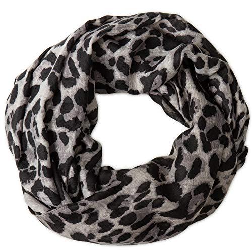 Caspar SC500 Damen Loop Schal mit Leoparden Muster, Farbe:grau, Größe:One Size