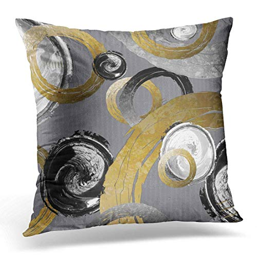 Throw Pillow Cover Silver Big Abstract Gold Color Ring Black White Swirl Colored Decorative Pillow Case Home Decor Square 18x18 Inches Pillowcase -