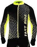 Stanteks Radtrikot Trikott Langarm Fahrradtrikot Fahrradshirt Fahrradbekleidung Herren Damen Unisex Fahrrad Radsport Thermo Atmungsaktiv Jersey Reißverschluss Reflektoren SR0032 (Schwarz-grün, XXL)