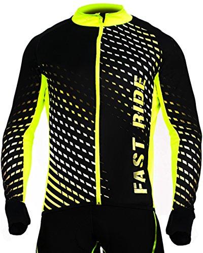 STANTEKS Radtrikot Trikott Langarm Fahrradtrikot Fahrradshirt Fahrradbekleidung Herren Damen Unisex Fahrrad Radsport Thermo Atmungsaktiv Jersey Reißverschluss Reflektoren SR0032 (Schwarz-grün, M)