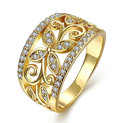 YELLOW CHIMES Flower Band Golden Ring for Women and Girls