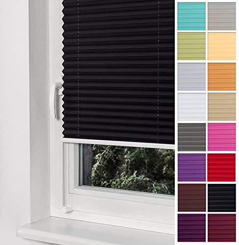 Home-Vision Premium Plissee Faltrollo ohne Bohren mit Klemmträger / -fix (Schwarz, B25cm x H100cm) Blickdicht Sonnenschutz Jalousie für Fenster & Tür