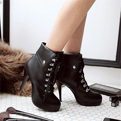 UH Femmes Chaussures Bottes de Lacets avec Fourrure à Talons Haut Aiguilles avec Plateform Bout Rond Noir