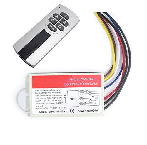 NAMVO Interrupteur Mural sans Fil et télécommande 220V à Quatre Voies, Cinq étapes commutateur sans Fil numérique commutateur de Commande à Distance