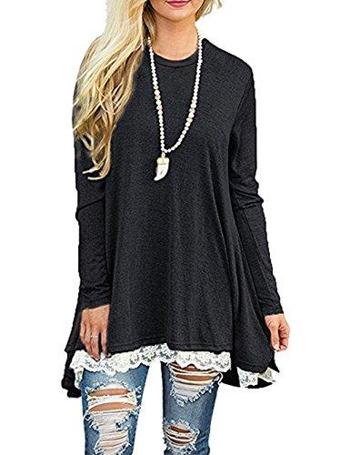 CoCo fashion Damen Tunika Langarm Oversize Sweatshirts Frühling Casual Lang Tshirt Top (EU M, Schwarz) (Tunika Lange)