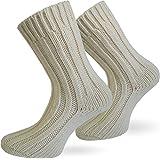 2 Paar Sehr warme Alpaka Wollsocken für Damen und Herren / wie Handgestrickt ! waschmaschienenfest ! Wollweiss