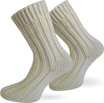 2 Paar Sehr warme Alpaka Wollsocken für Damen und Herren / wie Handgestrickt ! waschmaschienenfest ! Wollweiss Größe 35-38