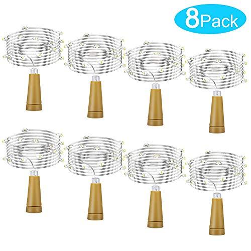 icht 8 Stück Weinflasche Licht Warmweiß Lichterkette für Flasche LED Lichterketten Stimmungslichter Weinflasche Kupferdraht, batteriebetriebene für Flasche DIY, Dekor (2M, 20LED) ()