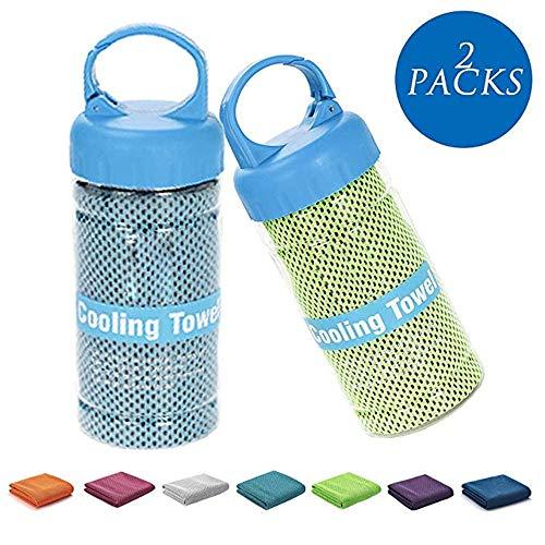 FULAISI Kühltuch - 2 Packungen Sofortkühltuch Relief für Fitness, Golf, Yoga und Outdoor-Sport, superweiches und atmungsaktives Handtuch mit speziellem Flaschenpaket mit Clip (Blau & Grün) (Geld-clip Golf)