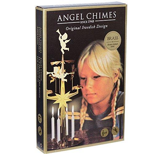 Original schwedisches Glockenspiel mit Engeln und vier weißen Kerzen für die Weihnachtszeit, Tischdekoration