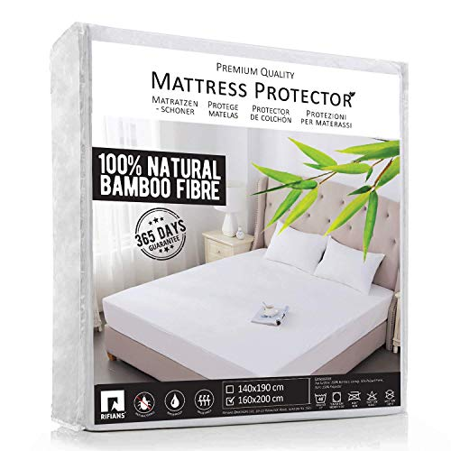 RIFIANS Protège Matelas 100% Fibre DE Bambou - Alèse 160 x 200 cm IMPERMÉABLE - Maintien Parfait - Drap Housse Confort Ultra-Doux - Garantie 5 Ans - Protection OPTIMALE - Anti-Acarien, Antibactérien
